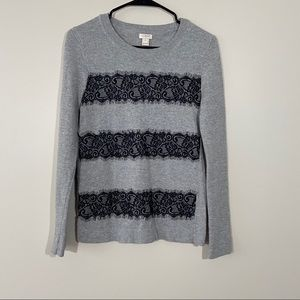 J Crew Cotton Wool Blend Sweater With Lace Detail